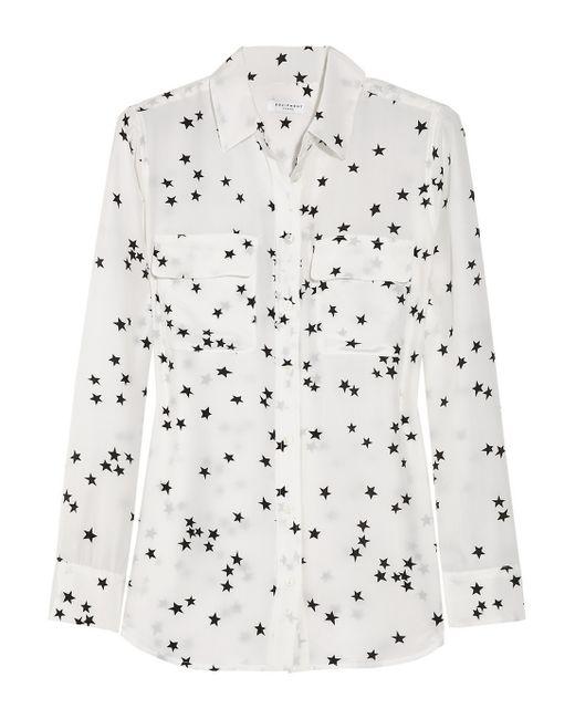 Equipment   White Slim Signature Printed Washed-Silk Shirt   Lyst