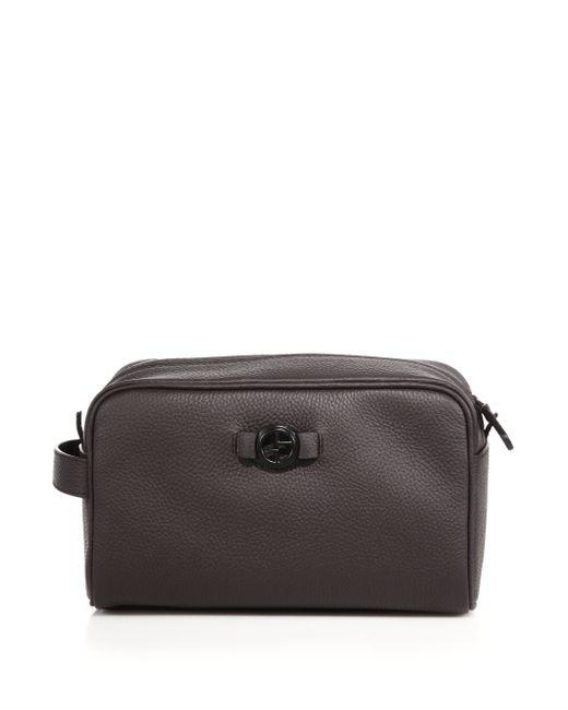 Giorgio Armani | Brown Leather Toiletry Case for Men | Lyst