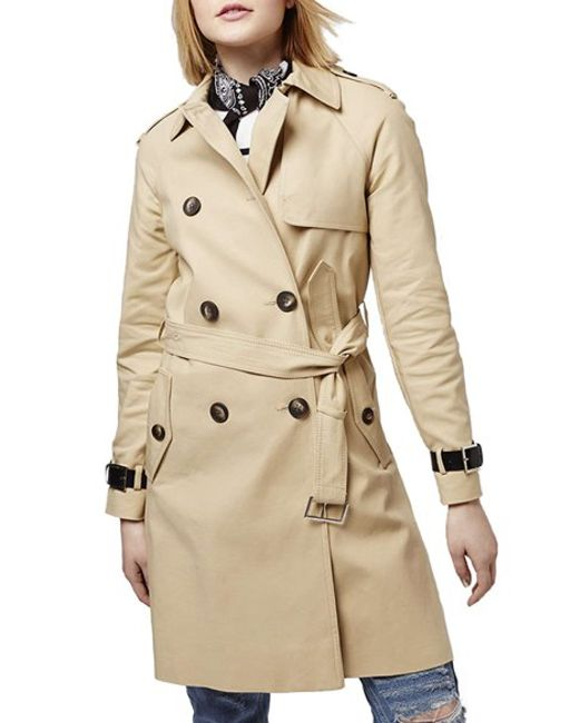 TOPSHOP | Brown Military Trench Coat | Lyst