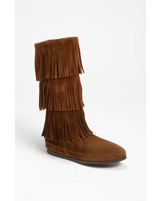Minnetonka | Brown 3-layer Fringe Boot | Lyst