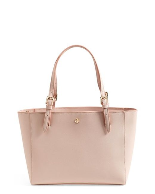Tory Burch | Pink York Small Saffiano-Leather Tote | Lyst