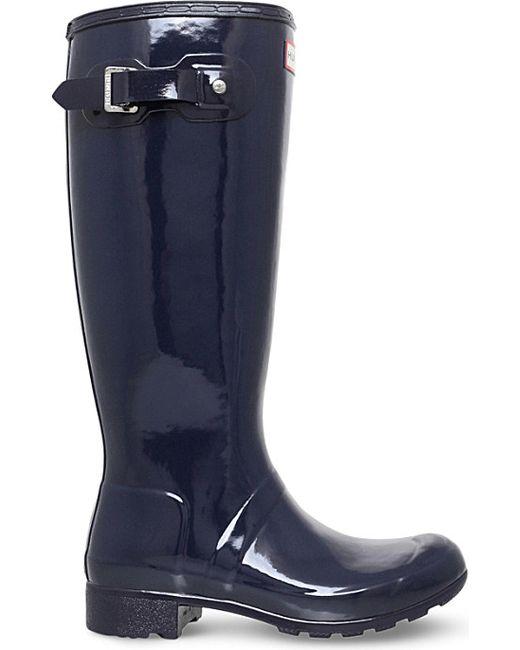 Hunter Original Gloss Rubber Wellington Boots in Black ...