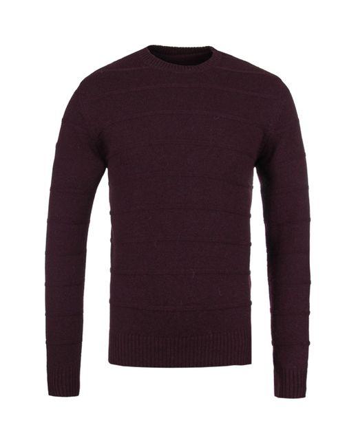 Edwin - Purple Cordovan Maroon Marl Standard Fine Stripes Knitted Sweater for Men - Lyst