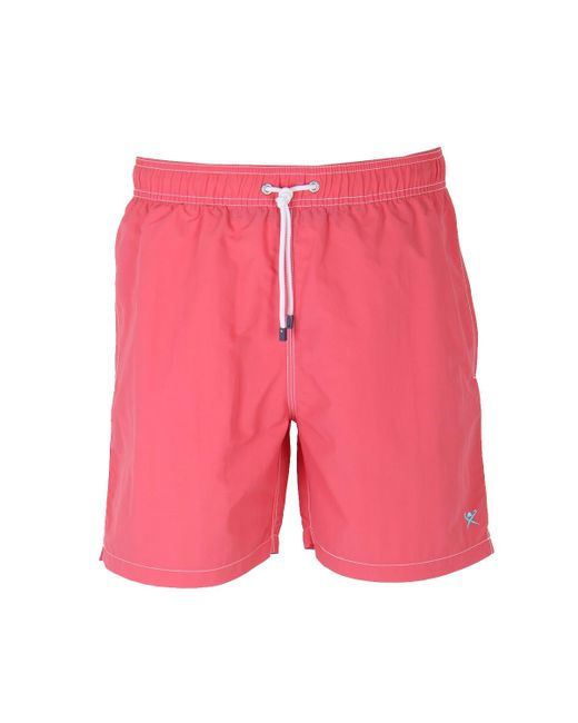Hackett - Pink Coral Red Solid Volley Swimshorts for Men - Lyst