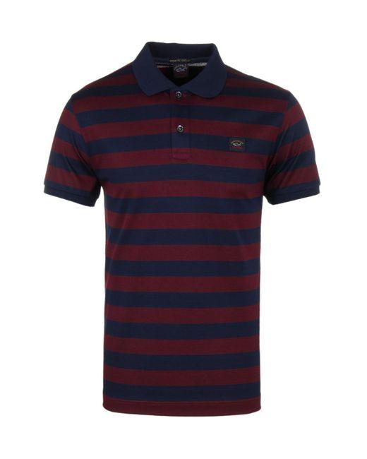 Paul & Shark - Blue Burgundy / Navy Striped Organic Cotton Shark Fit Short Sleeve Polo Shirt for Men - Lyst