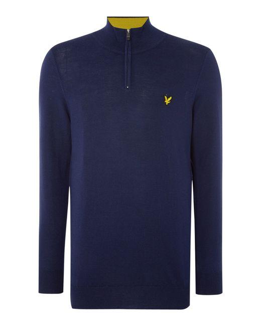 Lyle & Scott | Blue Golf Merino ¼ Zip Jumper for Men | Lyst