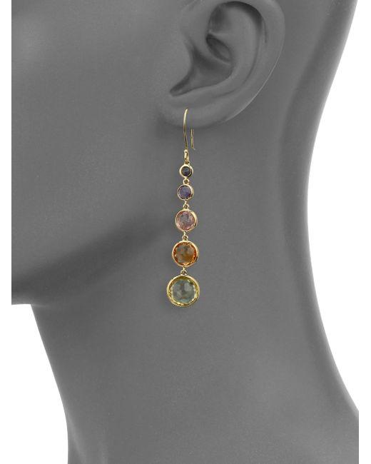 Ippolita | Metallic Rock Candy Semi-precious Multi-stone & 18k Yellow Gold Lollitini Drop Earrings | Lyst