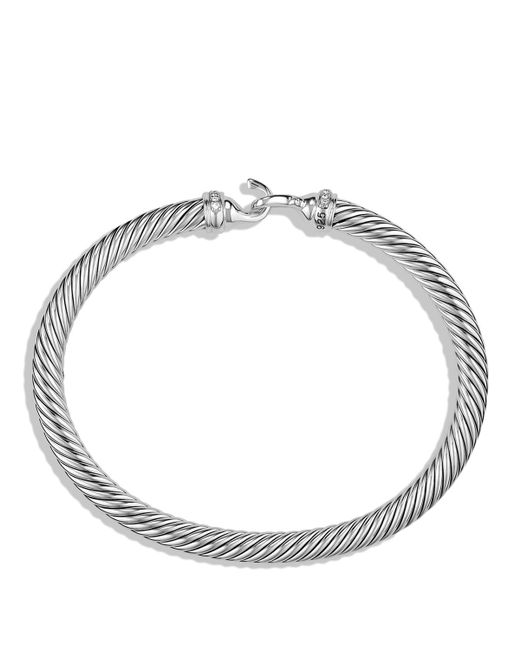 David Yurman | Metallic Cable Buckle Bracelet With Diamonds | Lyst