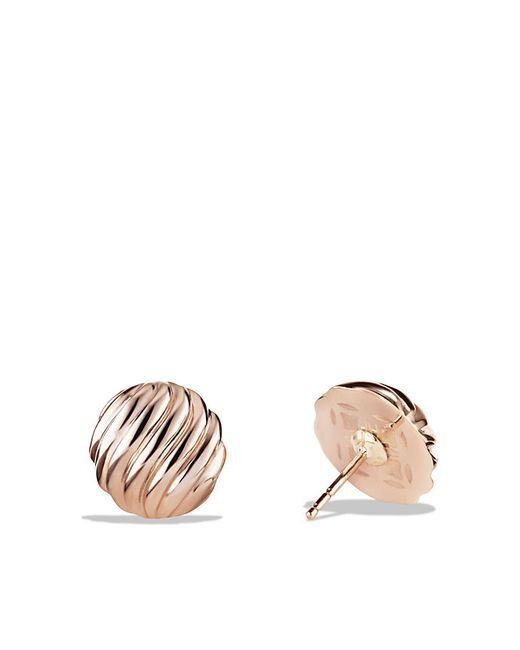 David Yurman   Metallic Sculpted Cable Earrings In 18k Rose Gold   Lyst