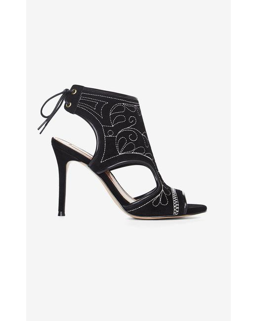 BCBGMAXAZRIA - Black Myah Embroidered Faux-suede Sandal - Lyst