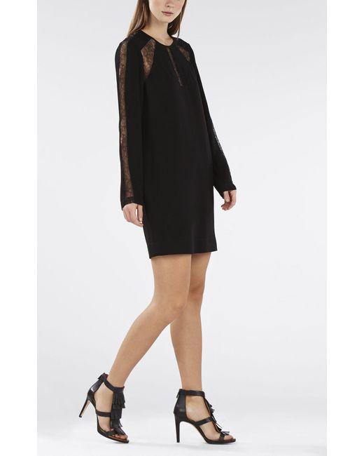 BCBGMAXAZRIA   Black Payten Long-sleeve Lace-insert Shift   Lyst