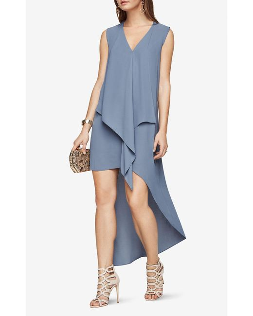 Bcbgmaxazria Tara Cascade Ruffle Dress In Blue Lyst