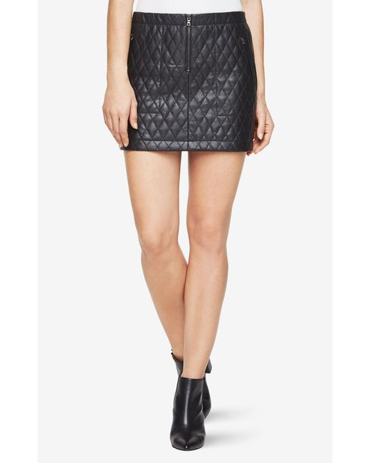 BCBGMAXAZRIA - Black Bcbg Dotty Quilted Faux-leather Skirt - Lyst