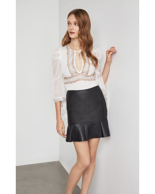 d6504a9248 BCBGMAXAZRIA - Black Bcbg Faux Leather Flounced Skirt - Lyst ...