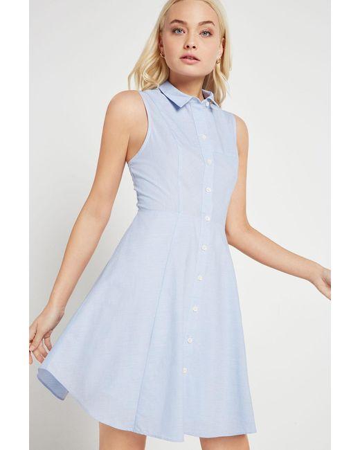 BCBGeneration | Blue Flared Pinstriped Shirt Dress | Lyst