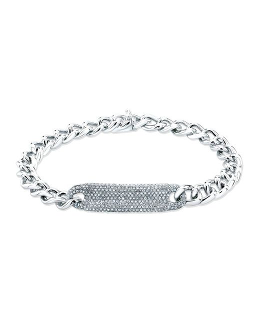 Anne Sisteron | Metallic 14kt White Gold Diamond Luxe Id Bracelet | Lyst