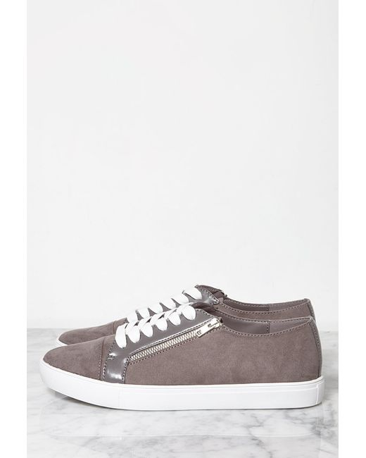 Forever 21 | Gray Faux Suede Zippered Sneakers | Lyst