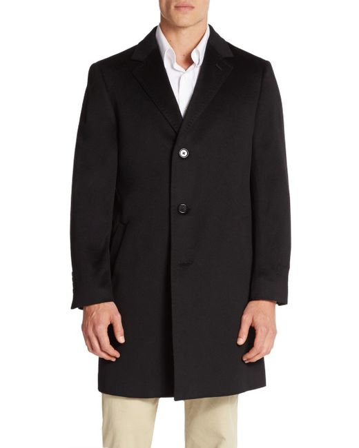 Saks Fifth Avenue   Black Slim-fit Wool Coat for Men   Lyst