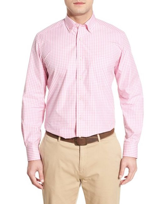 David Donahue Regular Fit Gingham Sport Shirt In Pink For