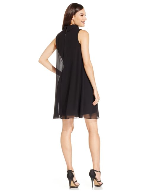 Vince Camuto | Black Sleeveless Trapeze Dress | Lyst