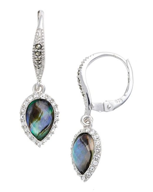 Judith Jack | Blue Silver-tone Crystal Drop Earrings | Lyst