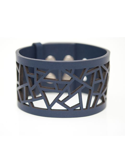 Ona Chan Jewelry | Blue Leather Lattice Cuff Navy | Lyst