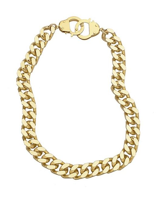 Handcuff Necklace Gold: Eklexic Curb Chain & Handcuff Clasp Necklace (gold) In