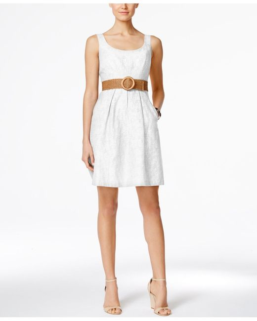 nine west belted burnout fit flare dress in white save