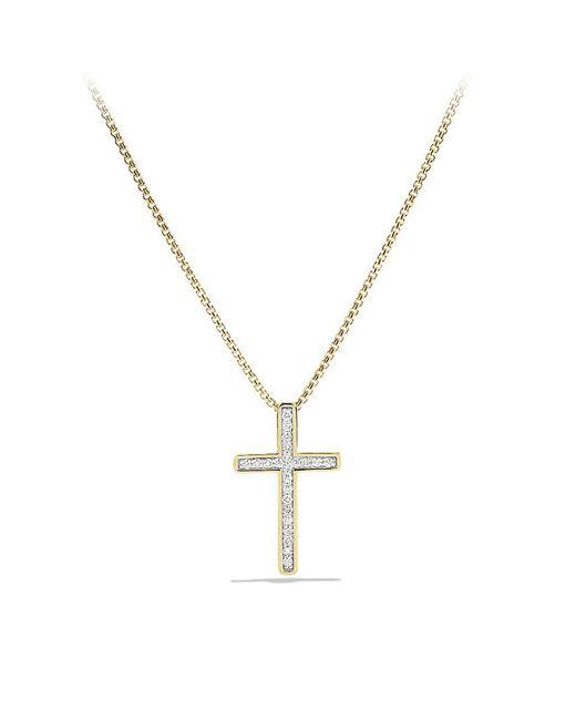 David Yurman | Metallic Petite Pavé Cross Necklace With Diamonds In 18k Gold | Lyst