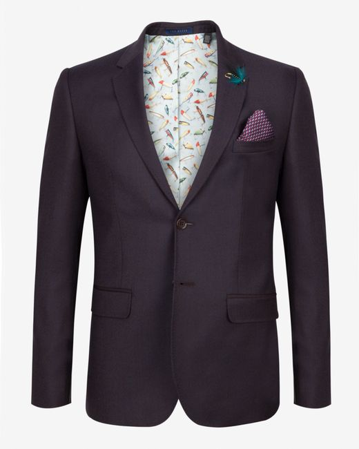 Ted Baker | Brown Tight Lines Wool Blazer for Men | Lyst