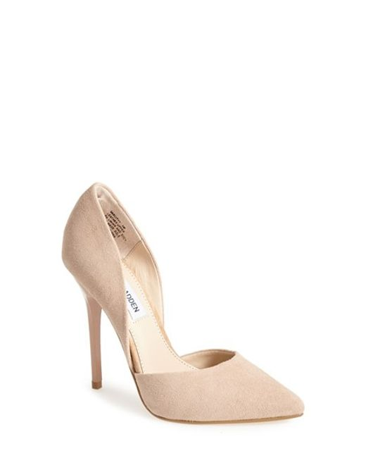 steve madden 39 varcityy 39 pointy toe pump in pink blush suede lyst. Black Bedroom Furniture Sets. Home Design Ideas