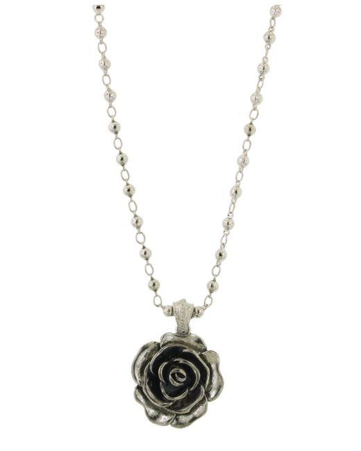 2028 | Metallic Silver-tone Jet Enamel Flower Pendant | Lyst