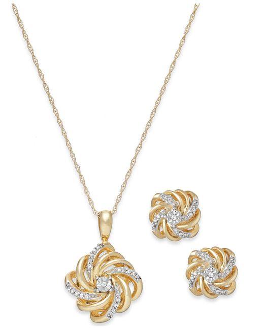 macy 39 s diamond love knot jewelry set in 10k gold 1 10 ct