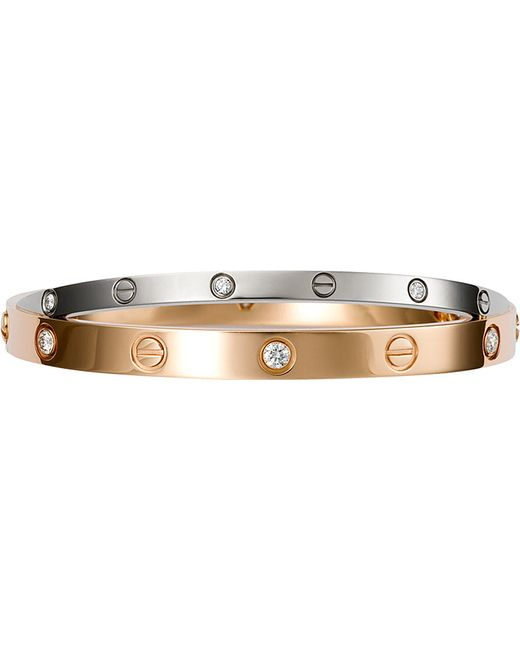 Cartier | Love 18ct Pink And White-gold Diamond Bracelet | Lyst