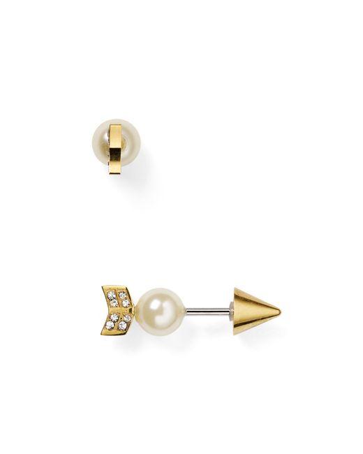 Rebecca Minkoff | Metallic Faux Pearl Arrow Front-back Earrings | Lyst