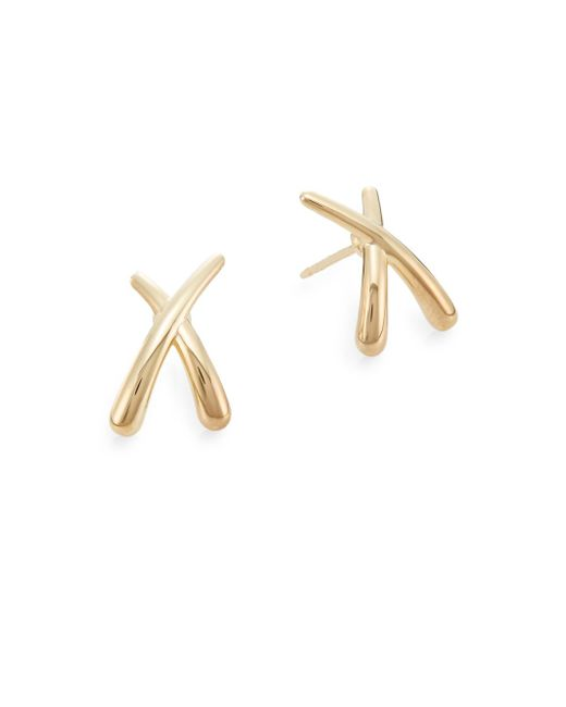 Saks Fifth Avenue | Metallic 14k Yellow Gold Criss-cross Stud Earrings | Lyst