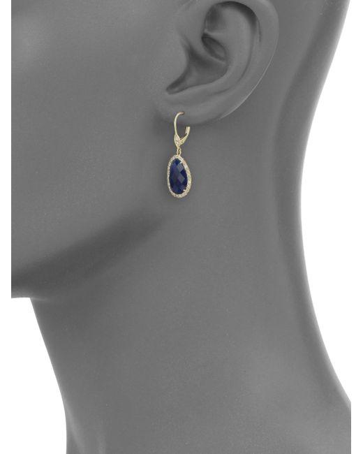 Meira T | Blue Sapphire, Diamond & 14k Yellow Gold Drop Earrings | Lyst