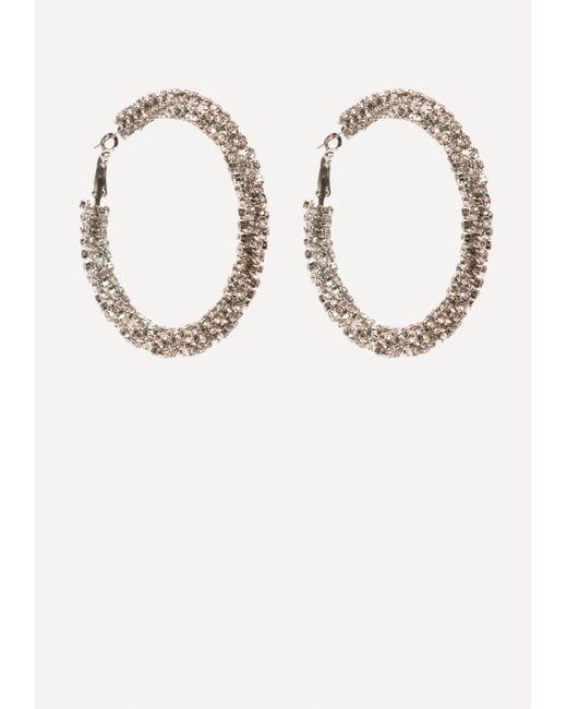 Bebe | Metallic Crystal Twist Hoop Earrings | Lyst