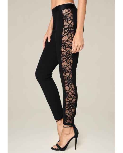 Bebe | Black Lace Tux Leggings | Lyst