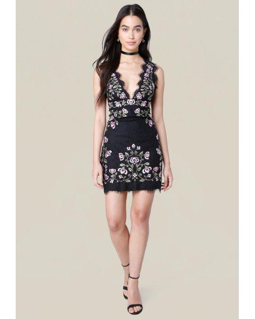 Bebe | Blue Lindsey Embroidered Dress | Lyst