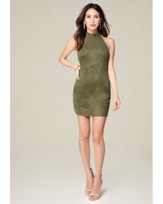 Bebe | Green Aria Faux Suede Dress | Lyst