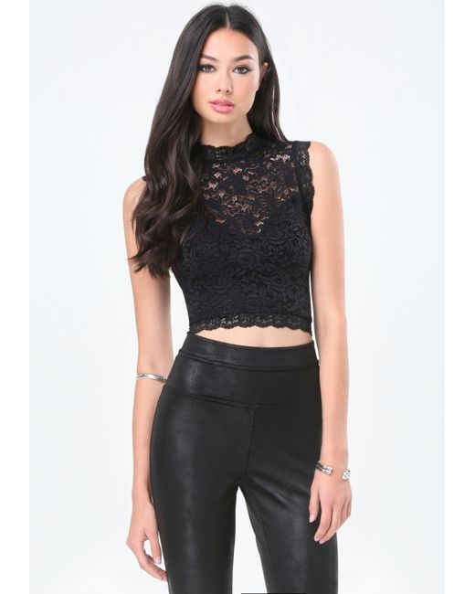 Bebe | Black Lace Sleeveless Crop Top | Lyst