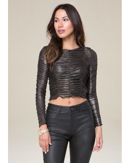 Bebe | Gray Foil Knit Ruched Top | Lyst