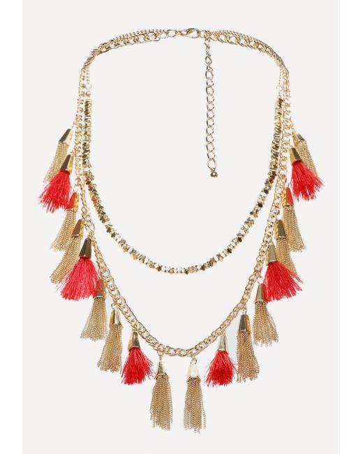 Bebe   Multicolor Tassel Long Necklace   Lyst
