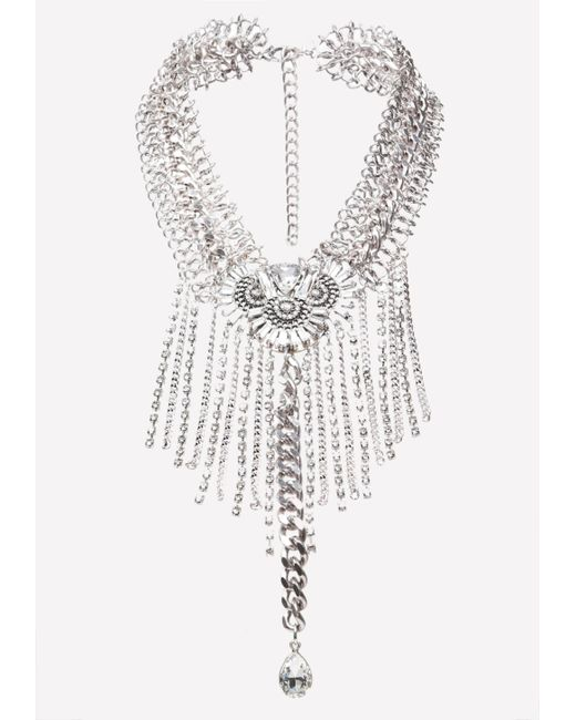 Bebe | Metallic Fringe Statement Necklace | Lyst