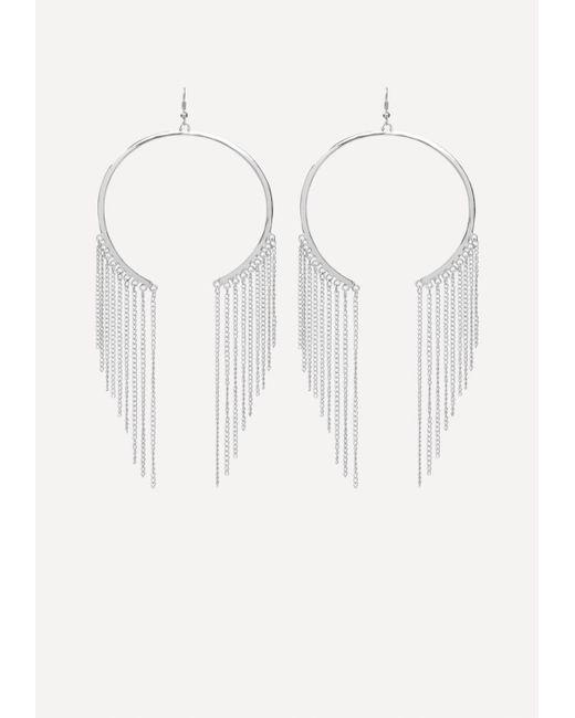 Bebe | Multicolor Fringe Open Hoop Earrings | Lyst