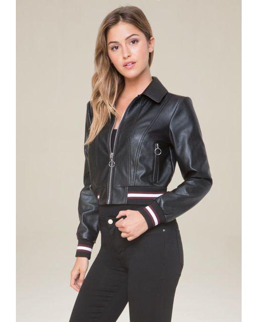 Bebe | Black Ribbed Faux Leather Jacket | Lyst