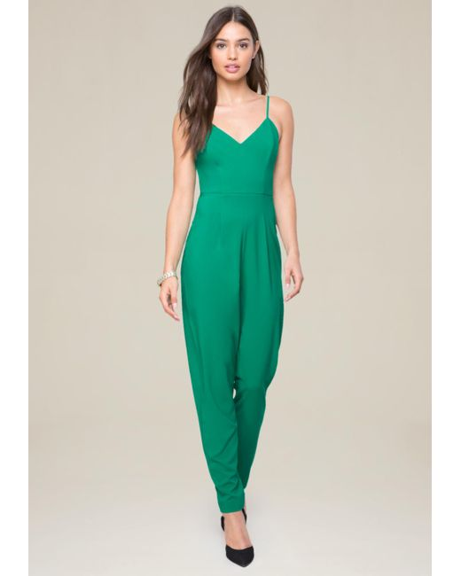 Bebe | Green Strappy Jumpsuit | Lyst