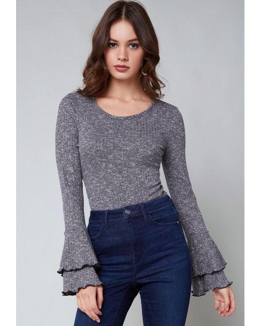 Bebe - Gray Tiered Cuff Bodysuit - Lyst