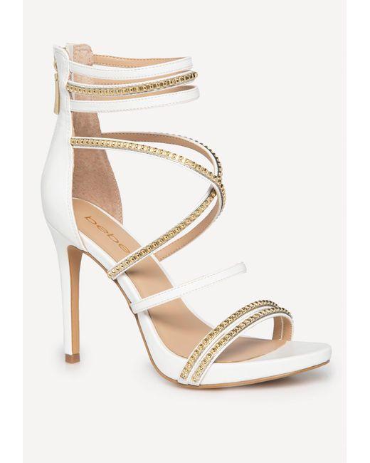 a5f6dea5a4b Bebe - White Bettyy Braid   Stud Strappy Sandals - Lyst ...